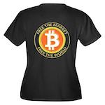 Bitcoin-8 Women's Plus Size V-Neck Dark T-Shirt