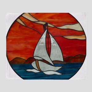Sailboat_Sunset Stained Glass Throw Blanket