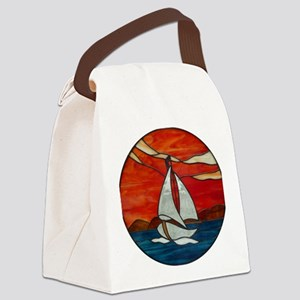 Sailboat_Sunset Stained Glass Canvas Lunch Bag
