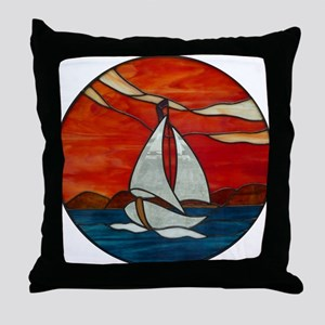 Sailboat_Sunset Stained Glass Throw Pillow