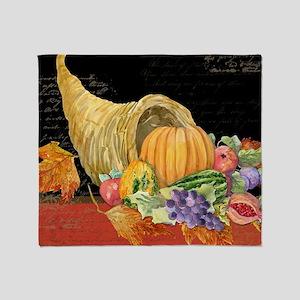 Harvest Thanksgiving Fall Cornucopia Throw Blanket