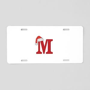 Letter M Christmas Monogram Aluminum License Plate