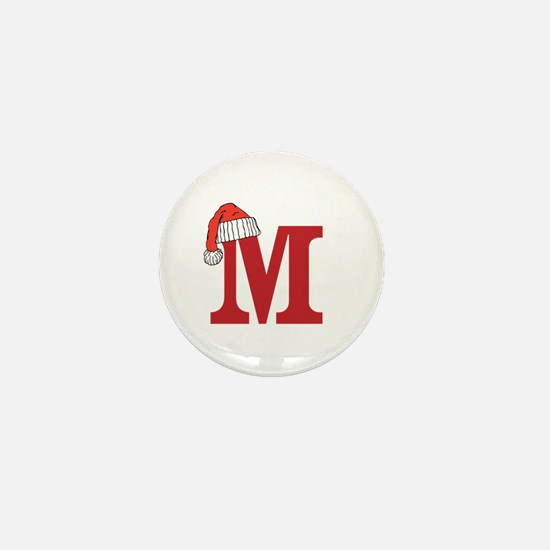 Letter M Christmas Monogram Mini Button