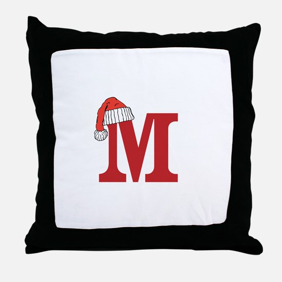 Letter M Christmas Monogram Throw Pillow
