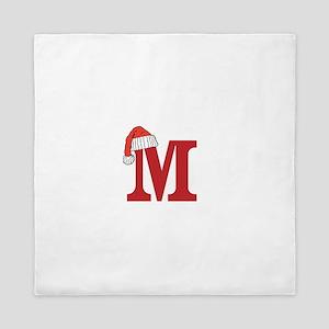 Letter M Christmas Monogram Queen Duvet