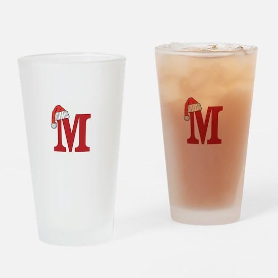 Letter M Christmas Monogram Drinking Glass