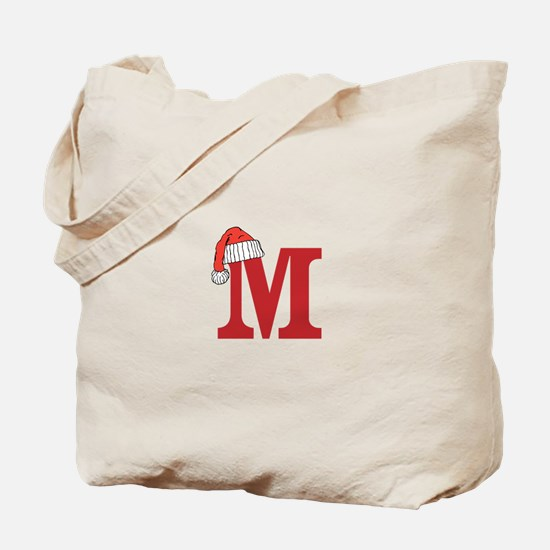 Letter M Christmas Monogram Tote Bag