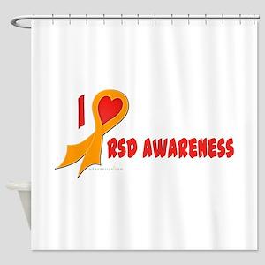 Orange I Heart/Support Rsd Awareness Shower Curtai