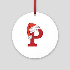 Letter P Christmas Monogram Ornament (Round)