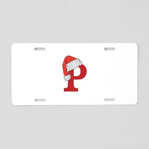 Letter P Christmas Monogram Aluminum License Plate