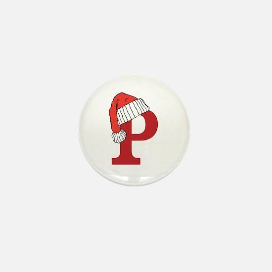 Letter P Christmas Monogram Mini Button