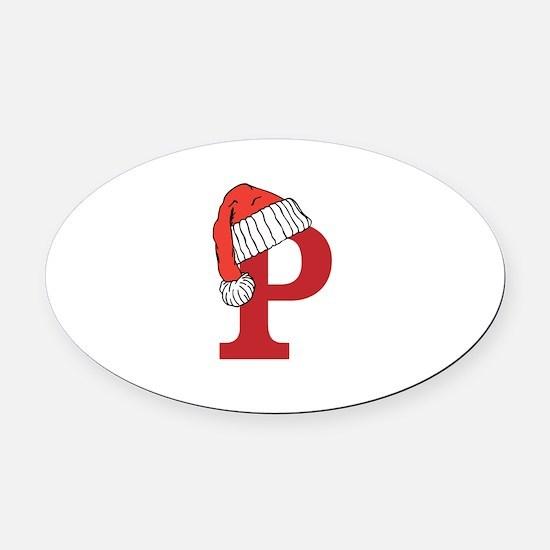 Letter P Christmas Monogram Oval Car Magnet