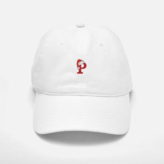 Letter P Christmas Monogram Baseball Baseball Cap