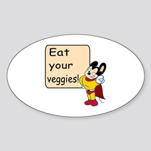 Mighty Mouse Eat Veggies Sticker (Oval)