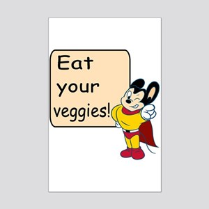 Mighty Mouse Eat Veggies Mini Poster Print
