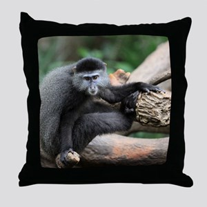 2-Blue Monkey InTree small poster Throw Pillow