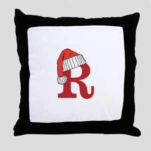 Letter R Christmas Monogram Throw Pillow