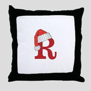Letter R Christmas Monogram Throw Pillow