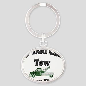 my tow dad green Oval Keychain