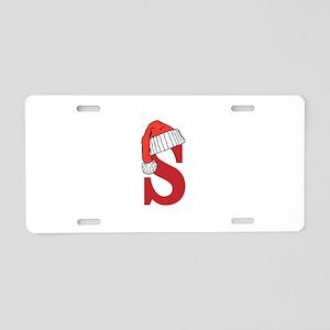 Letter S Christmas Monogram Aluminum License Plate