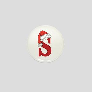 Letter S Christmas Monogram Mini Button