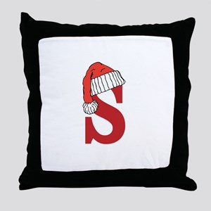 Letter S Christmas Monogram Throw Pillow