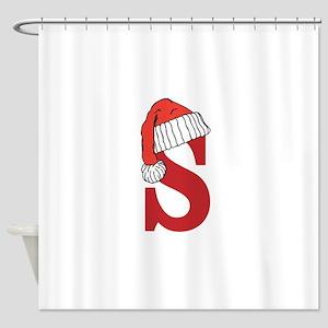 Letter S Christmas Monogram Shower Curtain
