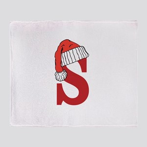 Letter S Christmas Monogram Throw Blanket