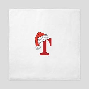 Letter T Christmas Monogram Queen Duvet