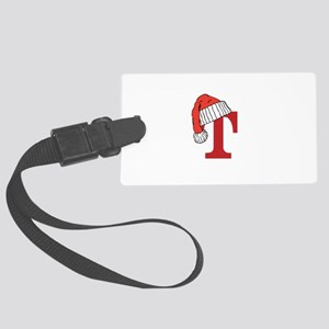 Letter T Christmas Monogram Large Luggage Tag
