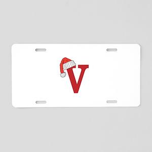 Letter V Christmas Monogram Aluminum License Plate