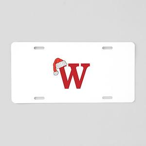 Letter W Christmas Monogram Aluminum License Plate