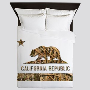 Weeds Camo California Bear Clear Queen Duvet