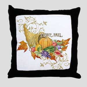 Harvest Thanksgiving Fall Cornucopia  Throw Pillow