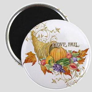 Harvest Thanksgiving Fall Cornucopia Scroll Magnet