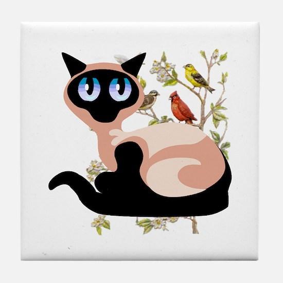 Wide Eyed Siamese Tile Coaster