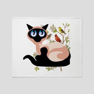 Wide Eyed Siamese Throw Blanket