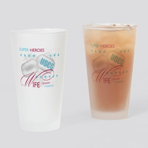 SuperHeroesAreReal_USCGWife Drinking Glass