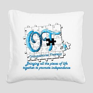 ot puzzle aqua Square Canvas Pillow