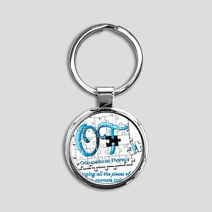 ot puzzle aqua Round Keychain
