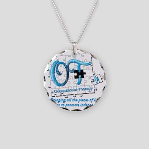ot puzzle aqua Necklace Circle Charm