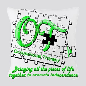 ot puzzlegreen Woven Throw Pillow