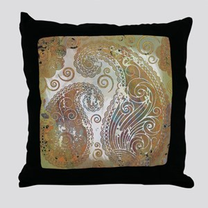 vintage color paisley Throw Pillow