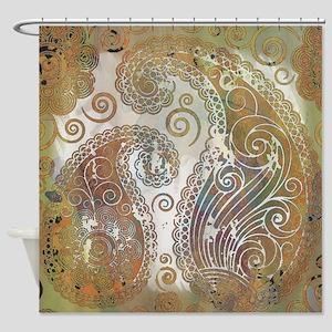 vintage color paisley Shower Curtain