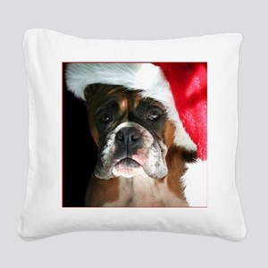 Christmas Boxer Dog Square Canvas Pillow