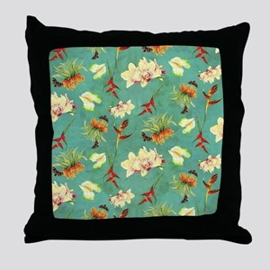 Tropical Floral Orchid Botanical Butt Throw Pillow
