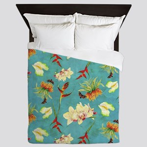Tropical Floral Orchid Botanical Butte Queen Duvet