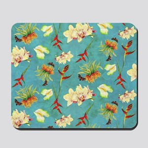 Tropical Floral Orchid Botanical Butterf Mousepad
