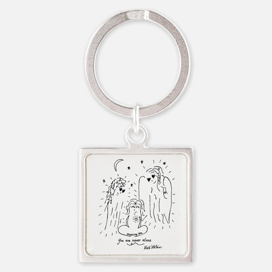 You are Never Alone Keepsake Square Keychain