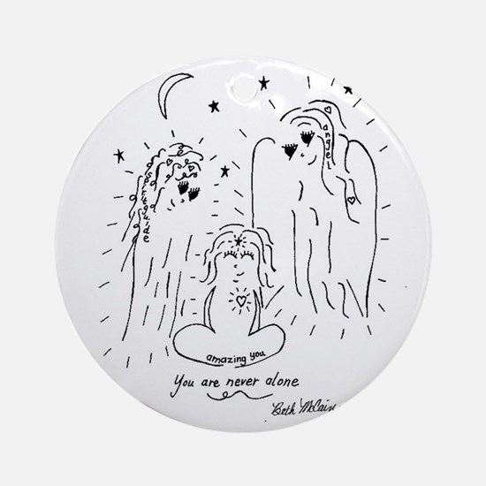 You are Never Alone Keepsake Round Ornament